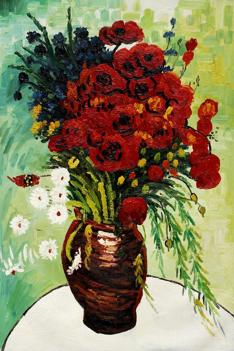 Vase With Daisies And Poppies Hand Painted Oil Reproduction