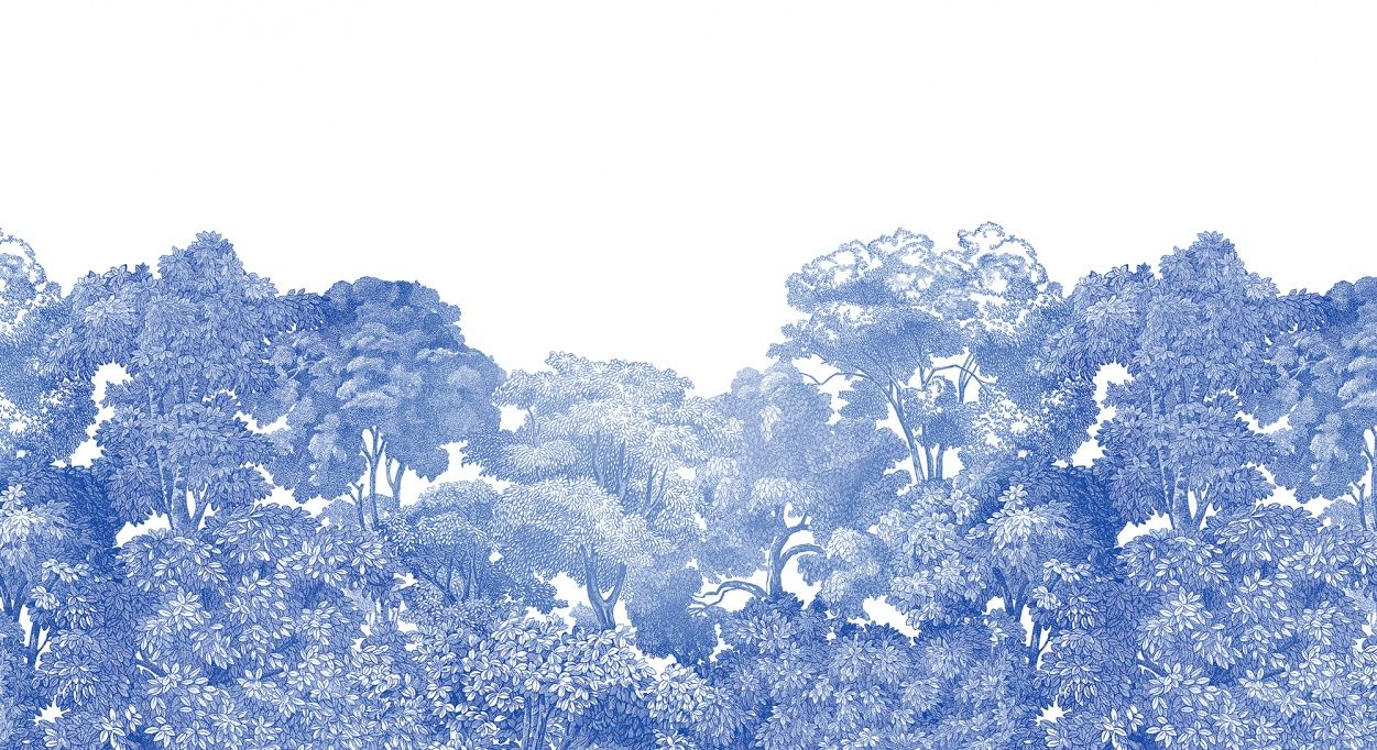 This enticing and slightly mystical forest is ink blue and based on several canvases. It has several colour ways to choose from.