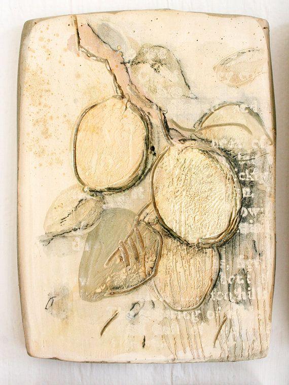 SALE. Apricots. Decorative tile composition  Decorative tile, Painting ceramic tiles, Hand