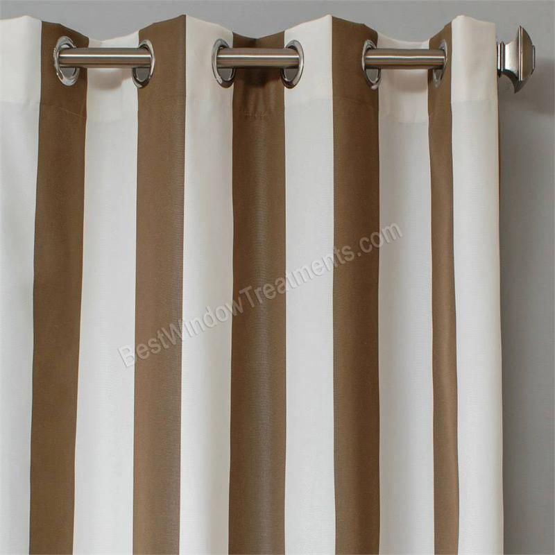 Best Fabric Outdoor Curtains.Sunbrella Stripe Cocoa Brown And Natural White Color For