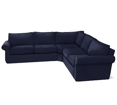 Pearce Sectional Down Organic Twill 3pc L Wedge Navy