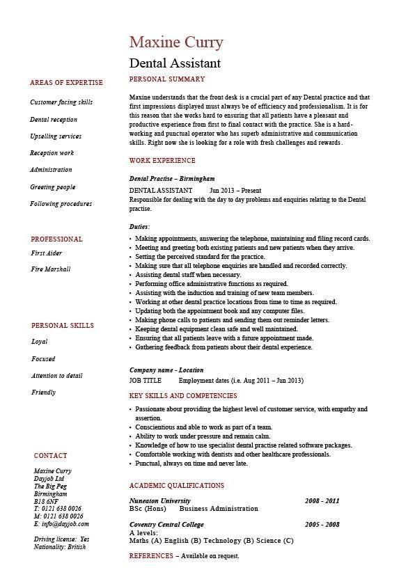 Dental Assistant Resume Dentist Example Sample Job Description Medial Teeth Skills Work