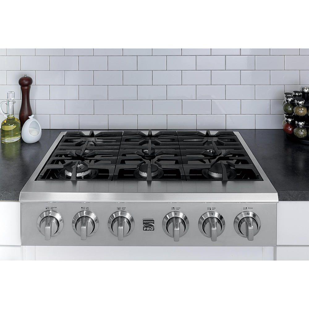 Slide In Kenmore 6 Burner 36 Gas Range Cooktop With Subway Tile Backsplash On Quartz Countertop