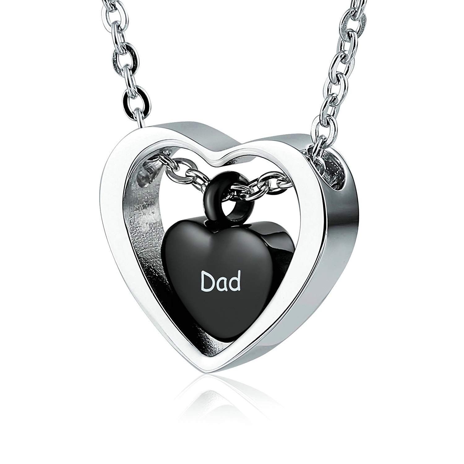 aa913f567dbd AnaZoz Locket Ashes Urn Necklace Stainless Steel Double Heart ...