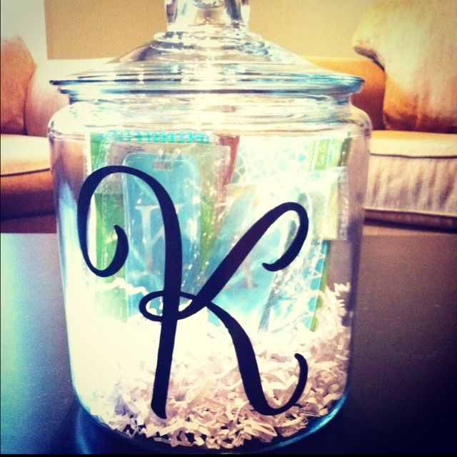 Target Wedding Gifts: DIY Wedding Shower Gift! Purchased Jar From Target,initial