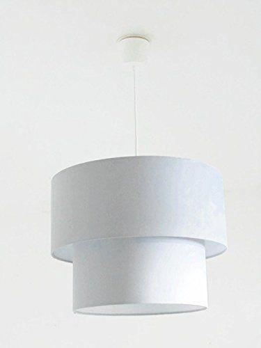 Lustre suspension plafonnier double abat jour cylindrique gris clair - Couleur Des Fils Electrique