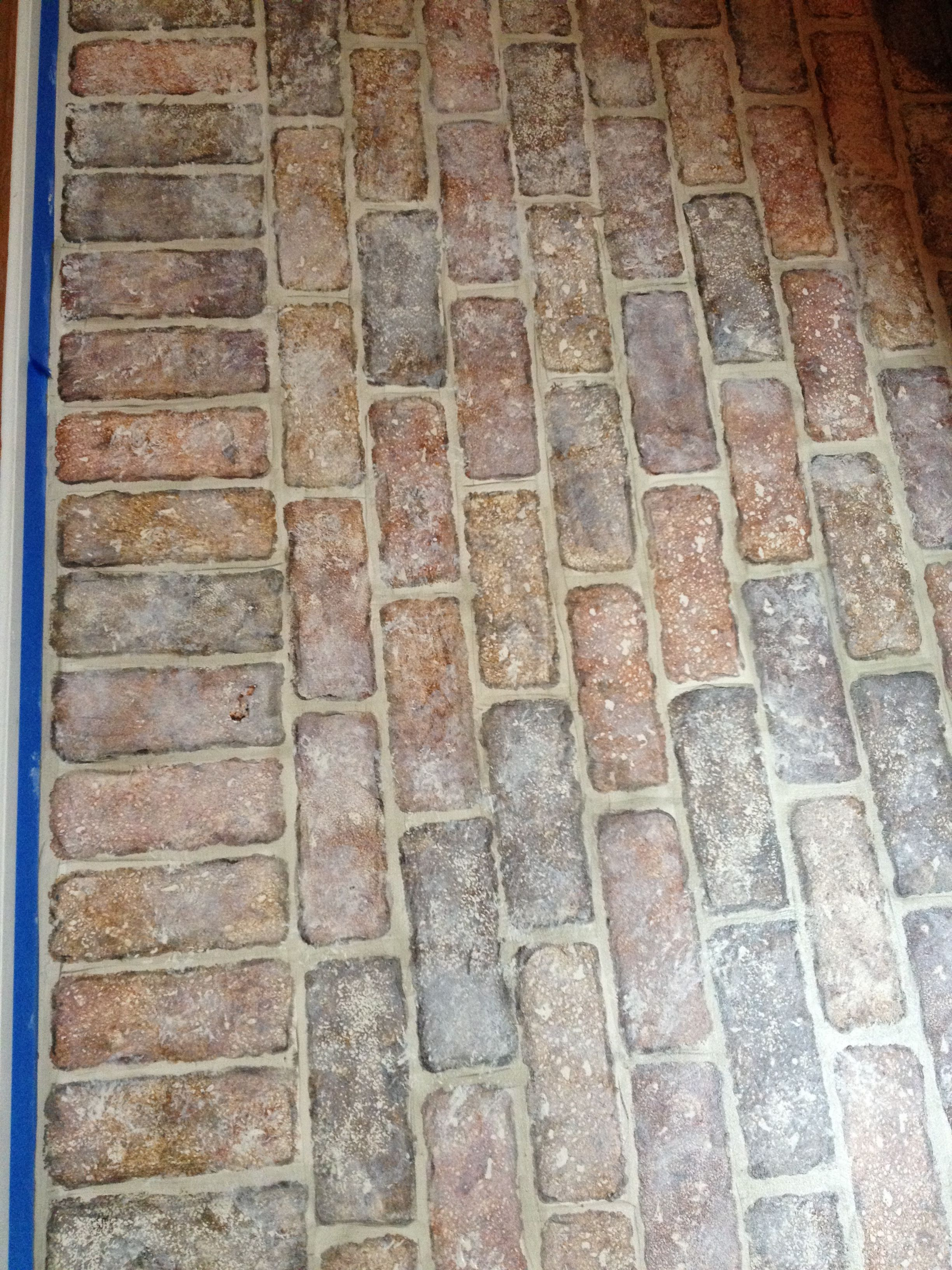 Amazing Faux Bricks Painted On A Concrete Floor. I Ripped Out The Old Laminate  Flooring.