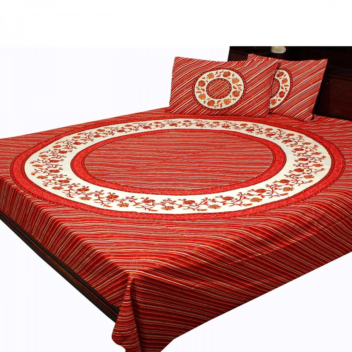 Pure Cotton Jaipuri Gold Print Design Double Bed Sheet Home Furnishing