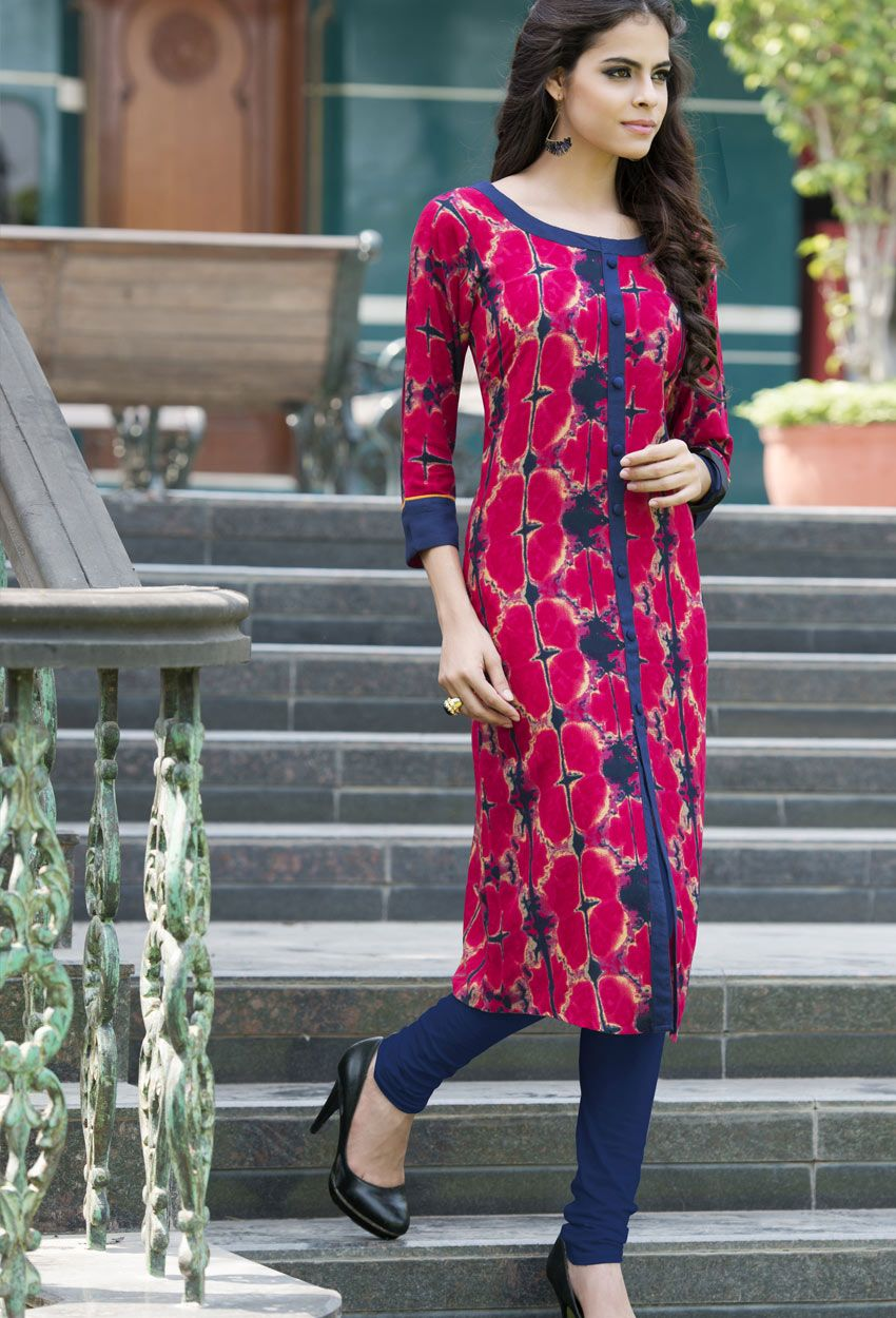 078cf532486 #Readymade Pink And Blue Cotton #Rayon #Printed #Kurti #nikvik #usa  #designer #australia #canada #freeshipping #dress #tunic