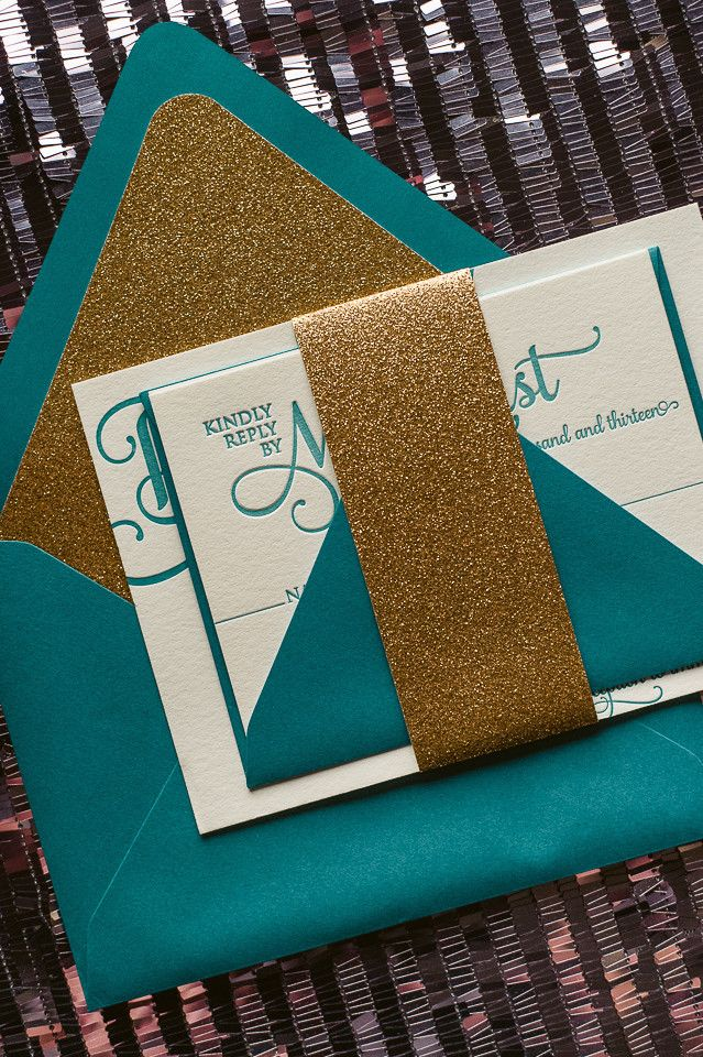 Fabulous Sparkly Peacock and Gold Glitter Letterpress Wedding Invitations by Just Invite Me