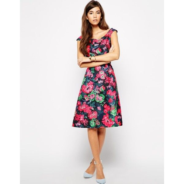 Love Structured Bardot Midi Skater Dress in Tapestry Floral Print ($23) ❤ liked on Polyvore featuring dresses, multi, structured dress, pink skater dress, floral midi dress, pink floral dress and love dresses
