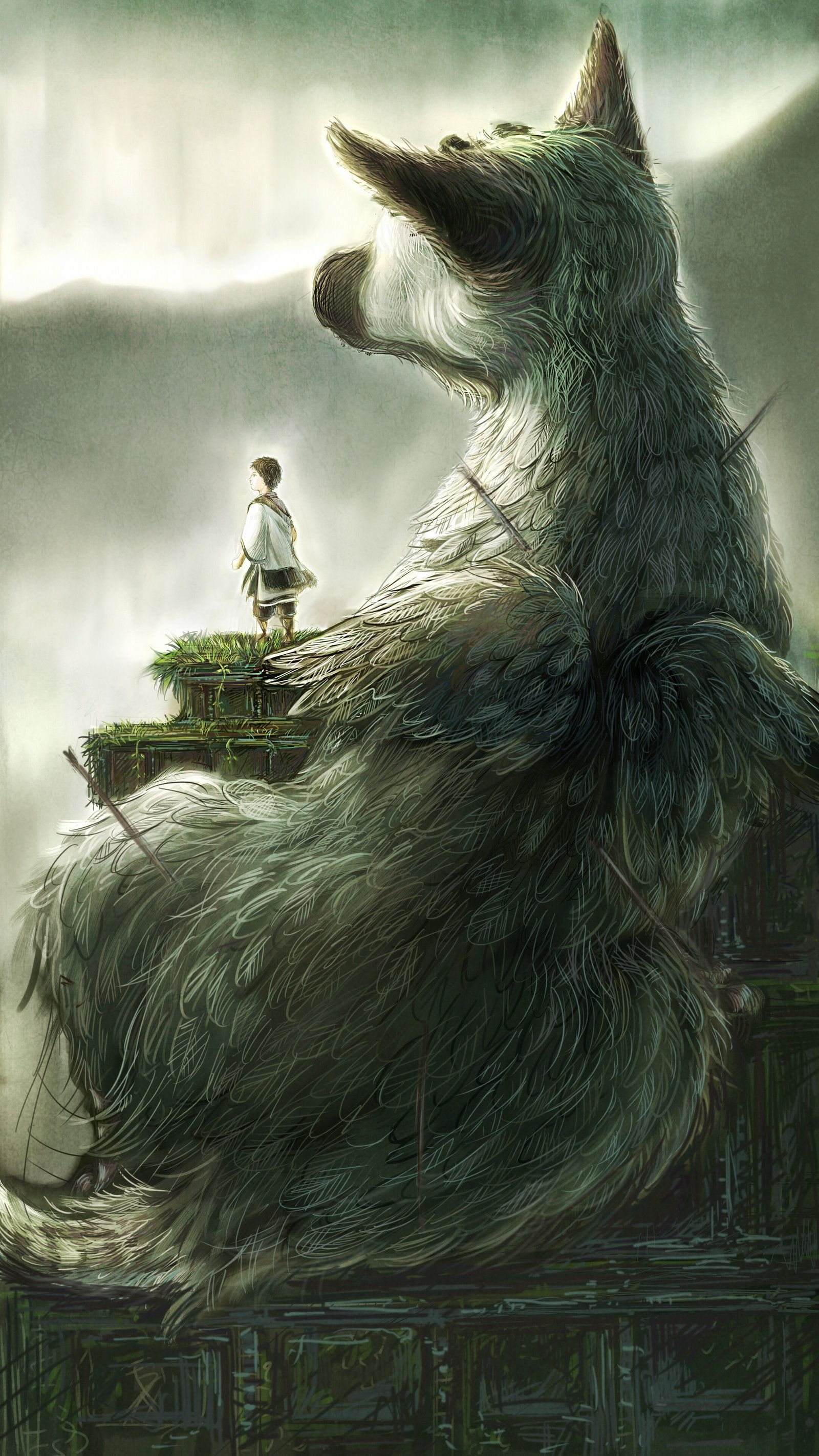 The Last Guardian...cannot wait for this game to FINALLY come out.  Beautiful artwork.