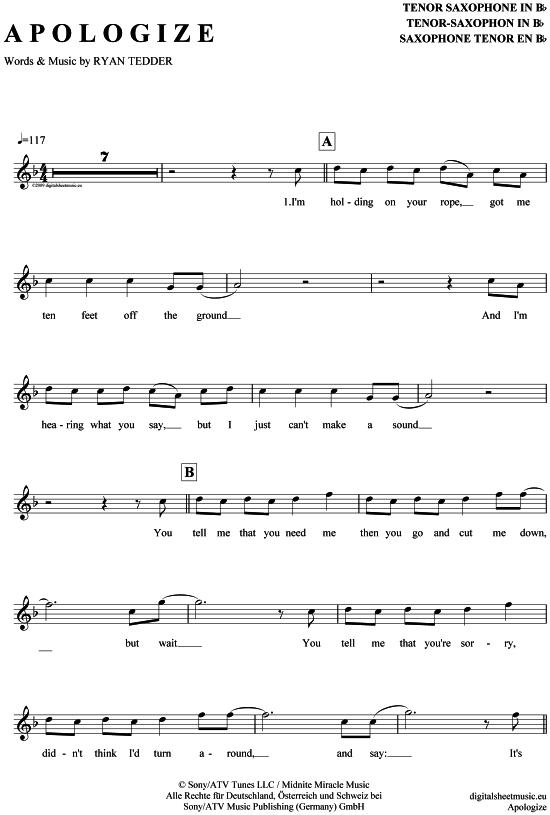 apologize noten klavier