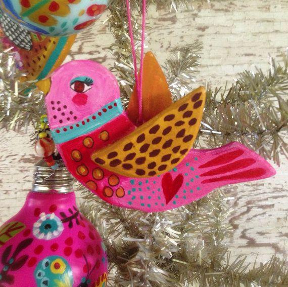 Holiday  Decor Pink Bird Ornament on Etsy, $22.00