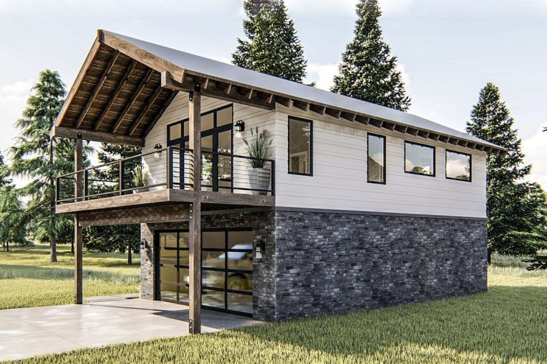1 Bedroom Two Story Modern Rustic Garage Apartment With Vaulted Interior Floor Plan Home Stratosphere Garage Apartment Plan Apartment Plans Garage Apartments