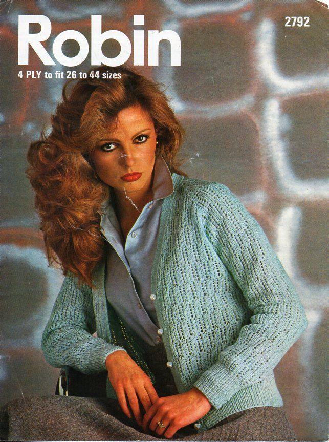 88d09d739725 Vintage womens 4ply cardigan knitting pattern PDF ladies lacy v neck jacket  26-44