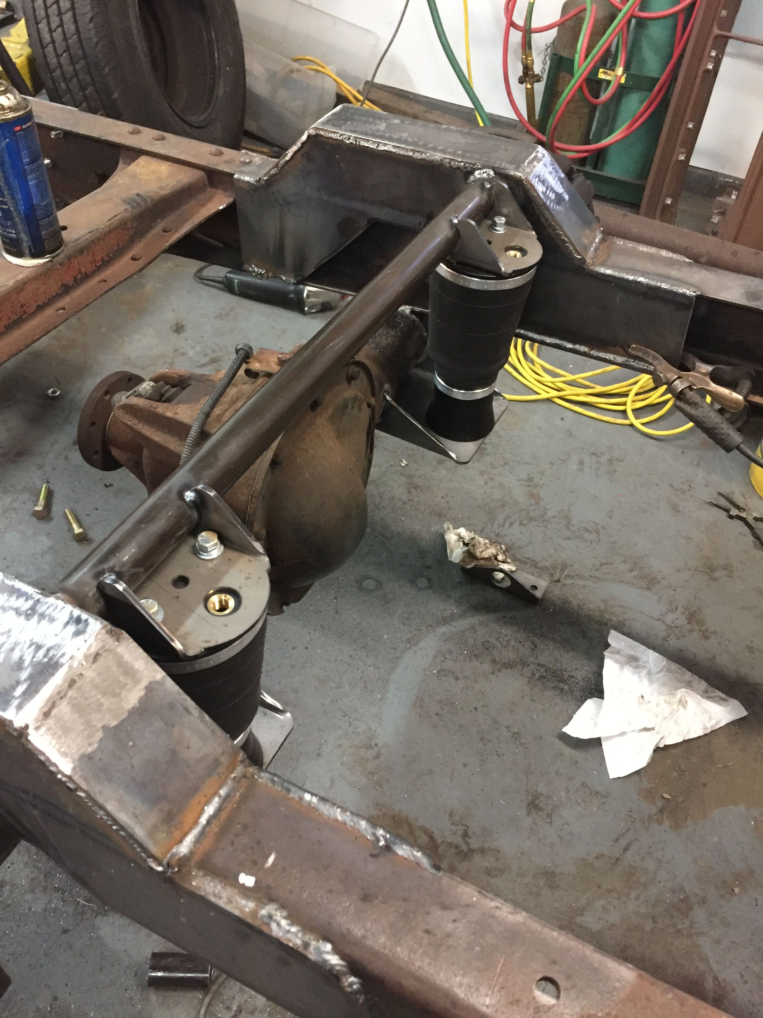 hight resolution of rear air bag suspension tacked in place with new crossmember
