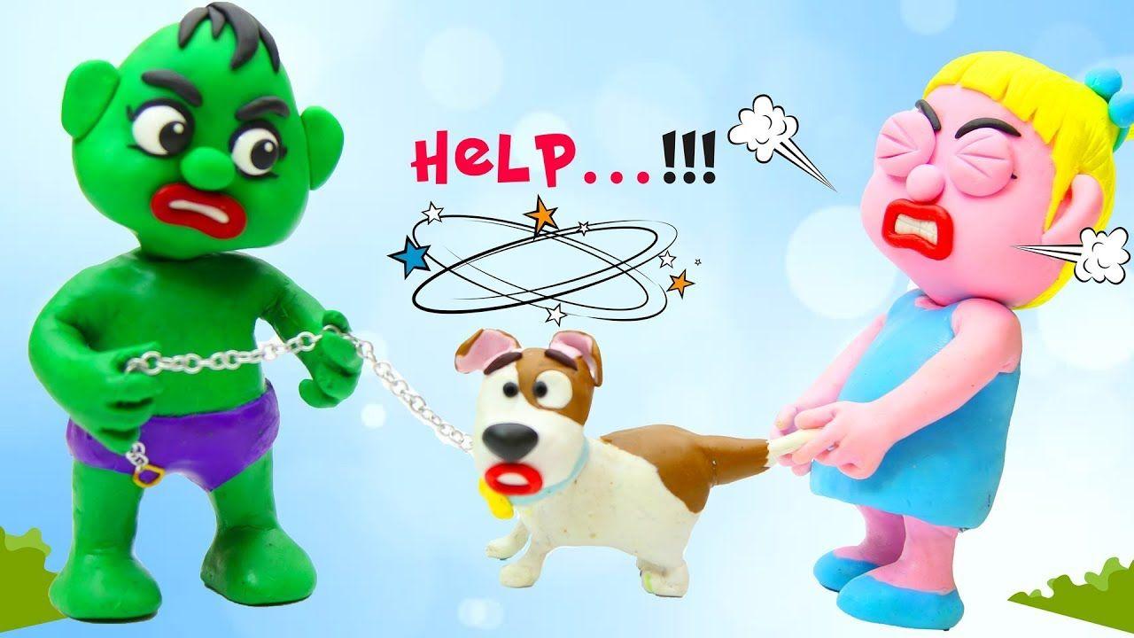 Hulk u elsa baby with dog max cute puppies dog play doh stop