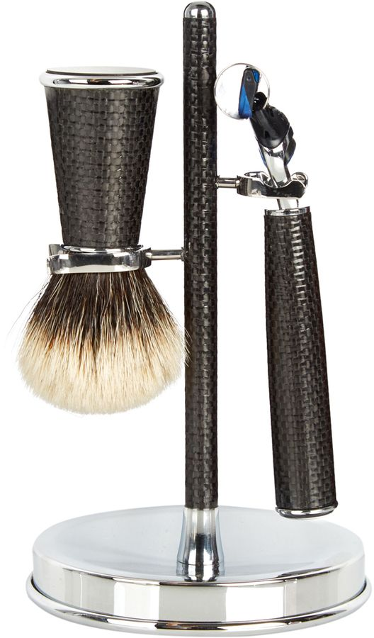 CEDES MILANO Carbon-fibre shaving set: Traditional Italian craftsmanship takes centre stage in Cedes Milano's elegant grooming tools. This shaving set is handmade from chrome-plated brass and woven black carbon fibre and comprises a badger-hair shaving brush as well as an expert Gillette® Fusion razor. Let it bring a refined air to your morning ritual.