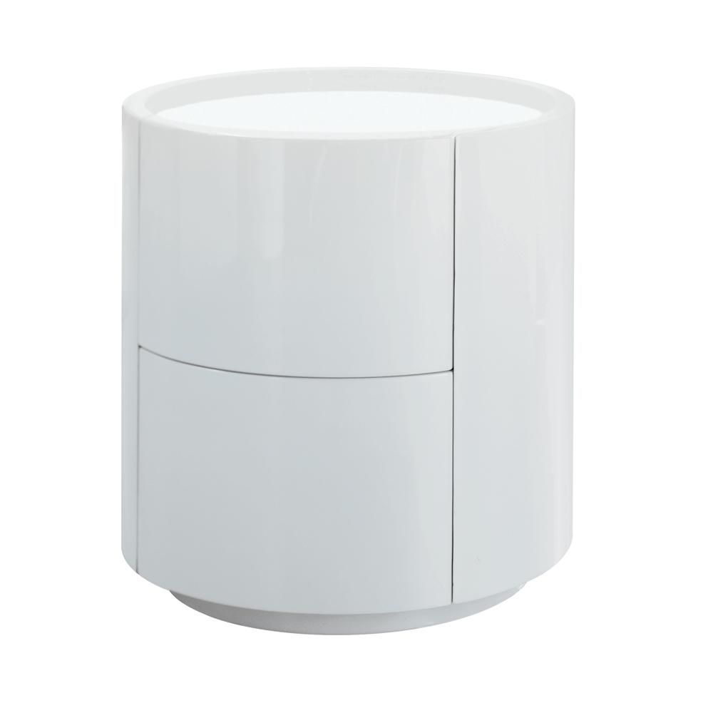 Dwell Sphere Gloss Bedside Table White 199 White Bedside Table Modern Bedside Table Bedside Table