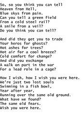 Pink Floyd Wish You Were Here Lyrics Lyrics To Live By Pink Floyd Lyrics Here Lyrics