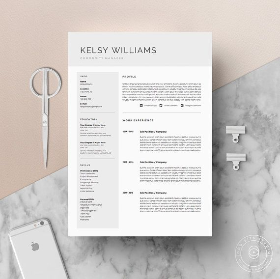 Page Resume Template  Cv Template Pack  Cover Letter