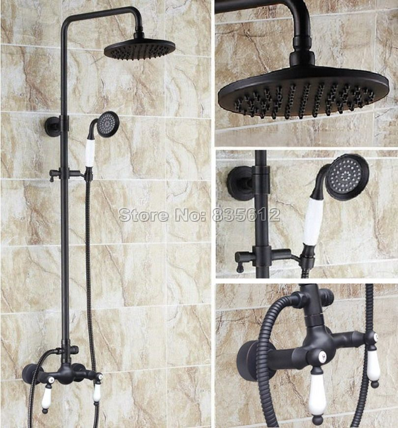 Black Oil Rubbed Bronze Rain Shower Faucet Set with Ceramic Hand ...
