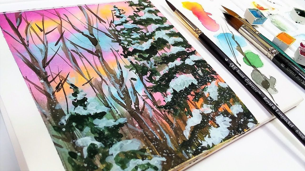 Snowy Sunrise Watercolor Tutorial For Beginners Youtube