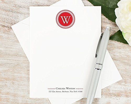 Circle monogram personalized flat stationery set professional circle monogram personalized flat stationery set professional business note cards letterhead stationary reheart Images