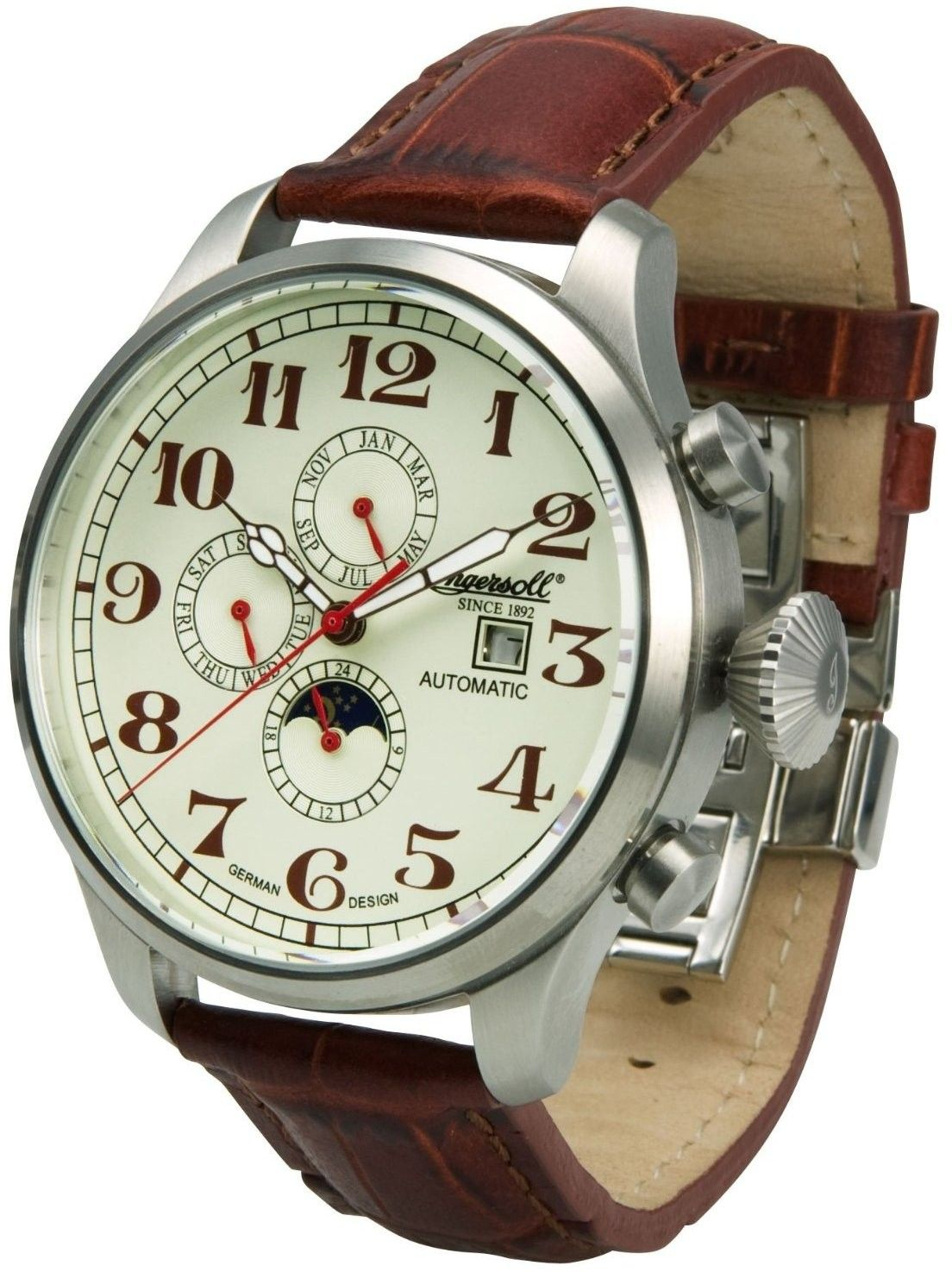 Ingersoll Mens Buffalo Iii Chronograph Stainless Watch - Brown Leather  Strap - White Dial - In1616cr