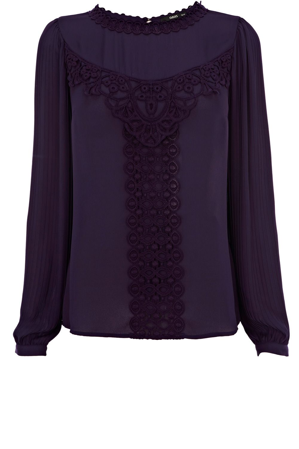 Lace dress styles for funeral  This Oasis pleat sleeve top features lace panelling across the front