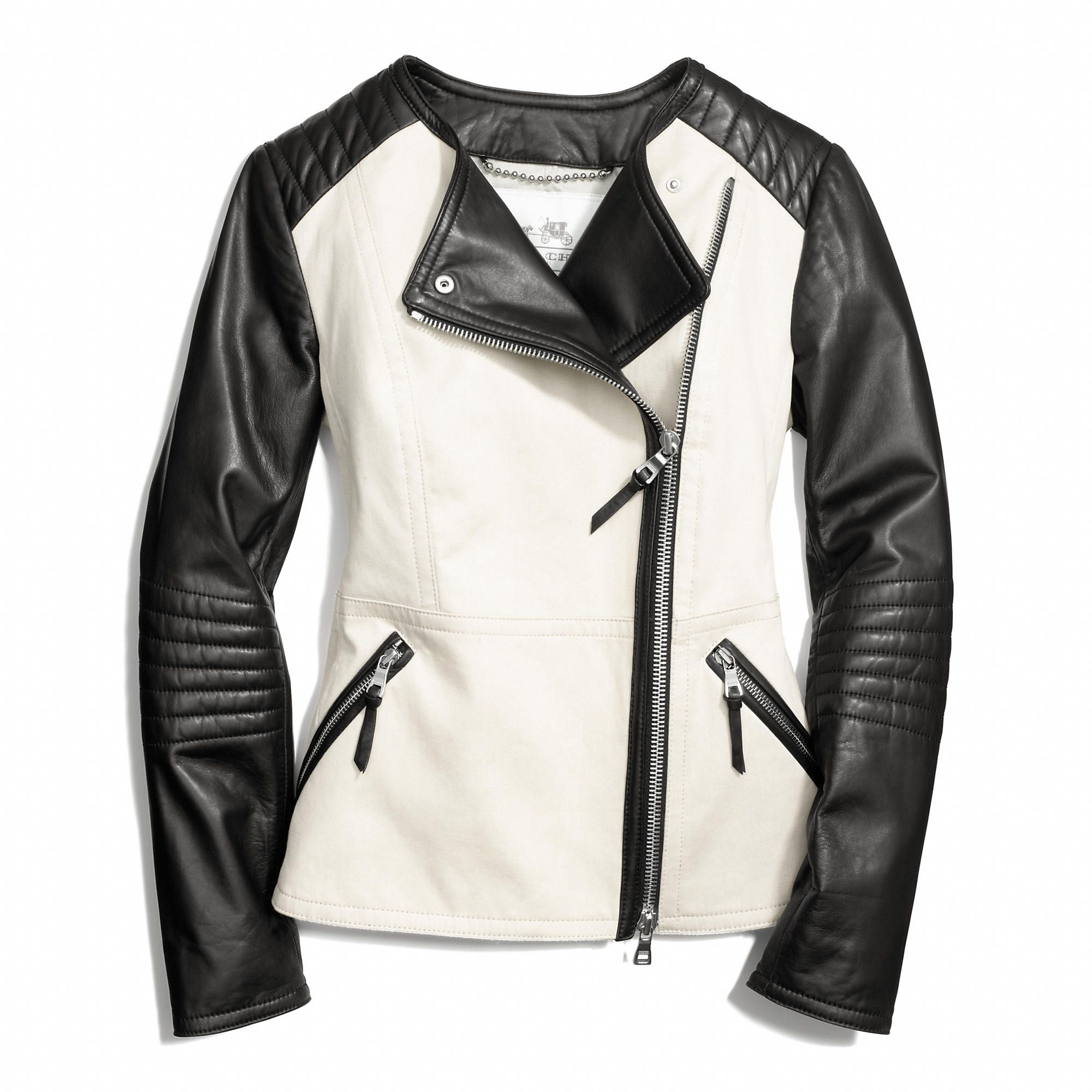 Coach Colorblock Collarless Leather Jacket Одежда