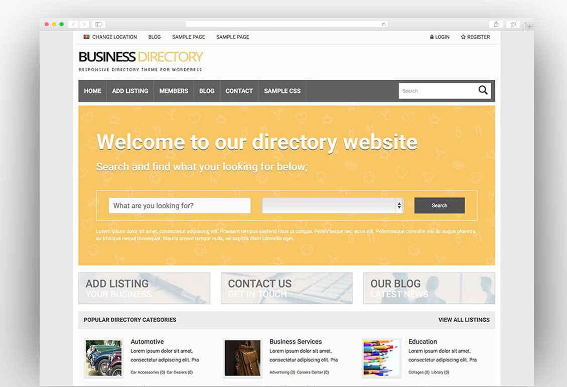 Business Directory Wordpress Theme Theme Wordpress
