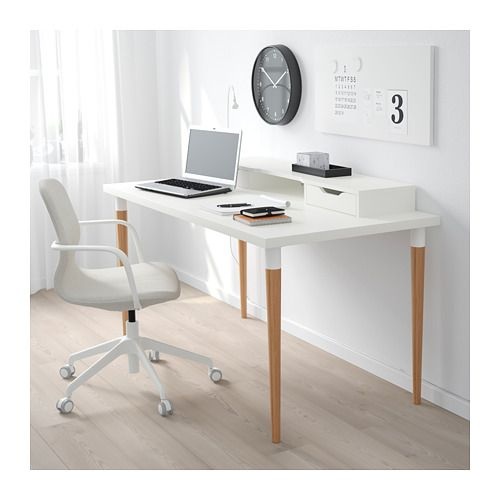 Linnmon Hilver Table White Bamboo Ikea In 2020 Ikea Linnmon Desk Home Office Design Ikea Desk Legs