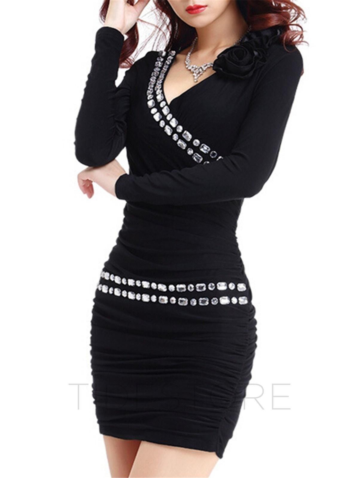 Tidestore tidestore fashion solid color v neck long sleeve bodycon