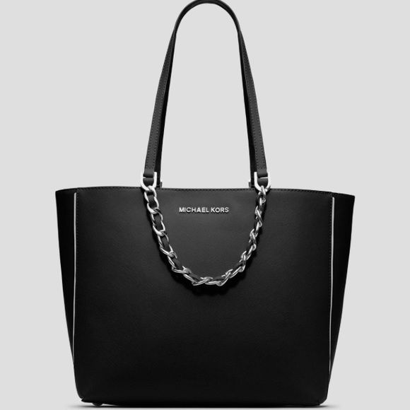 b35b3a42a6d6 Michael Kors Specchio Harper East West Tote Michael Kors Specchio Large  East West Tote, is made of Genuine Saffiano leather with silver-toned  hardware.