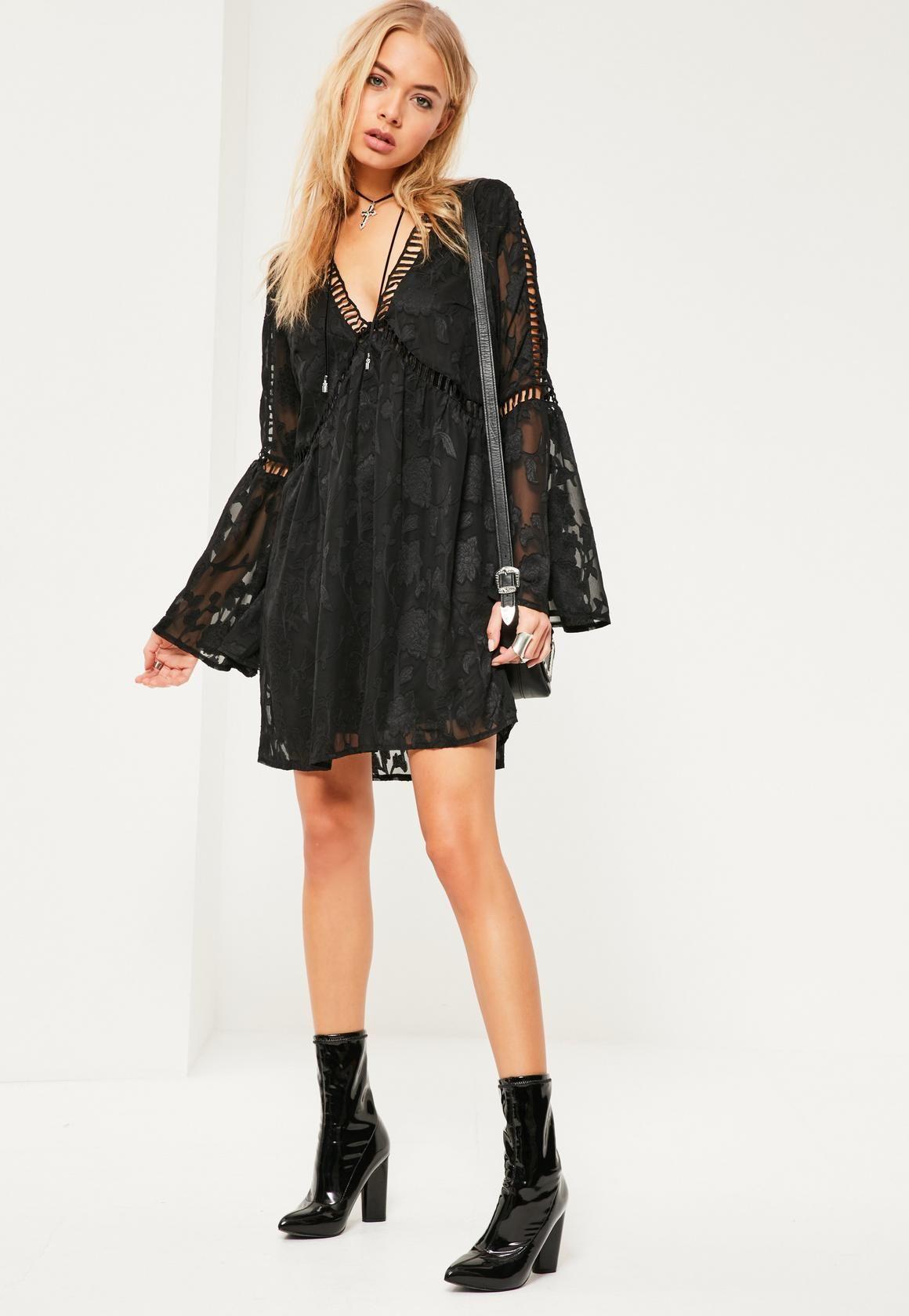Missguided Czarna Luzna Koronkowa Sukienka Z Szerokimi Rekawami Online Dress Shopping Cute Dresses Womens Dresses