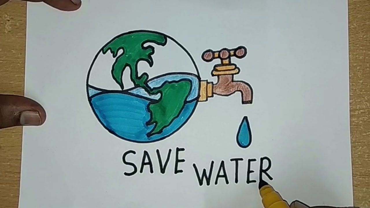 How to draw save water save earth drawing for kids