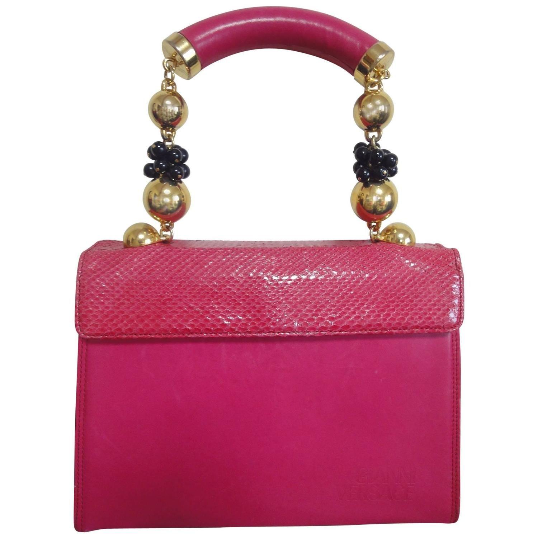 Versace Vintage Gianni Versace Pink Calf Leather And Genuine Snakeskin Handbag 8aFrTK