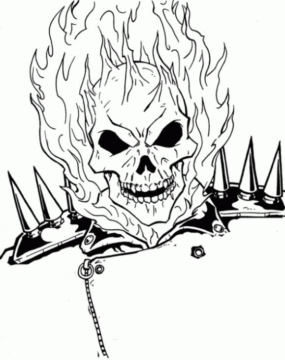 The Burning Face Of Ghost Rider Coloring Page | Superheroes Coloring ...