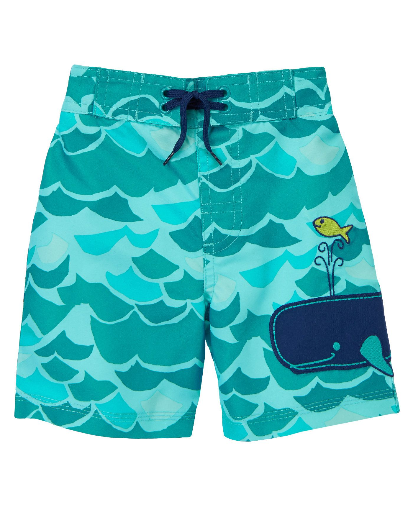 d82e061258 Water baby sports under-the-sea style in our wave and whale swim trunks  with back pocket. Graphic waves make an allover pattern in dreamy sea  colors, ...