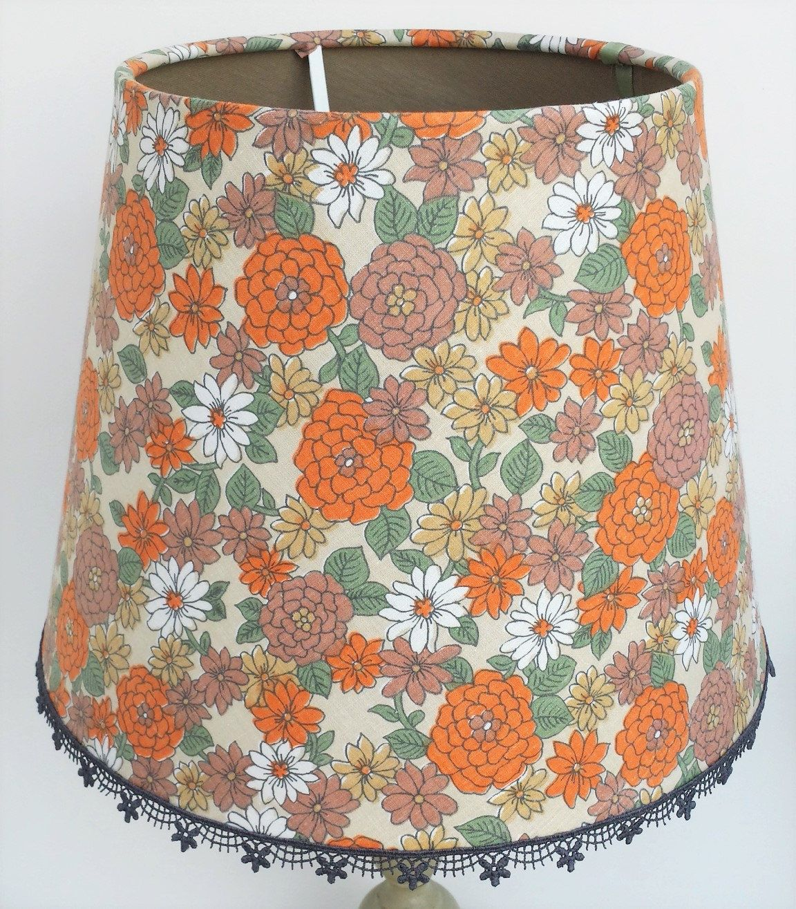 Orange and turquoise lamp shade - Contemporary Lamp Shade Beautiful 70s Style Fabric Lampshade Fabric Lined Upcycled Lighting