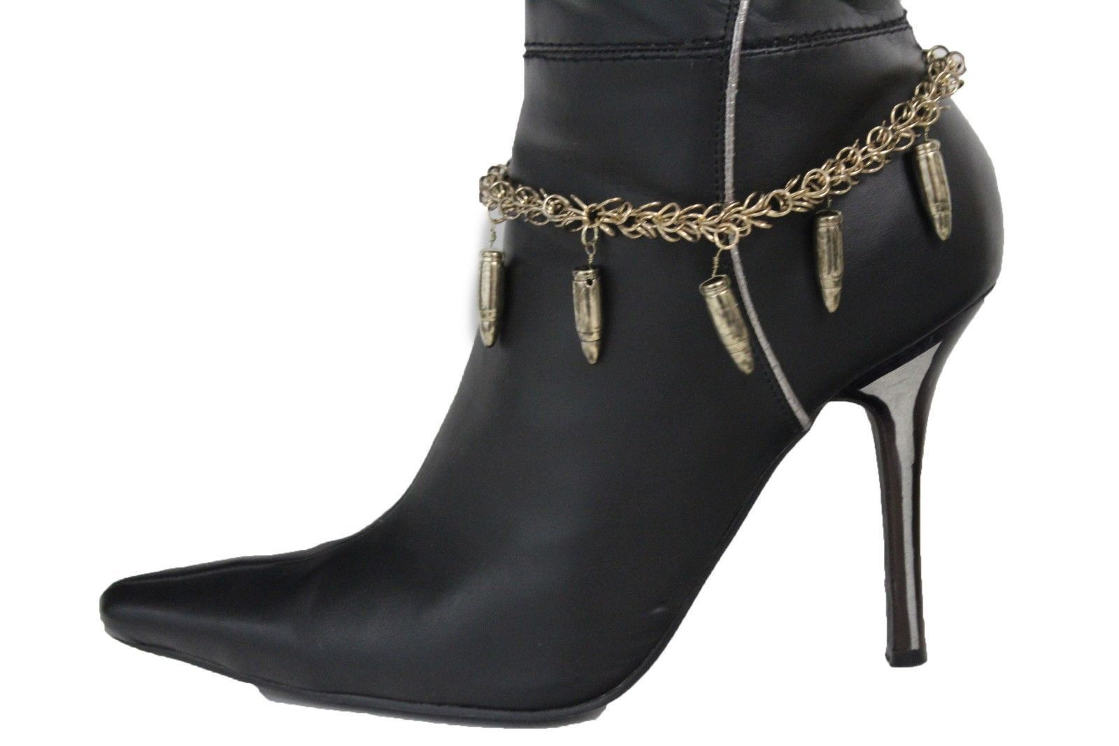 Women Boot Bracelet Antique Gold Metal Chain Bling Anklet Shoe Charm Bullet