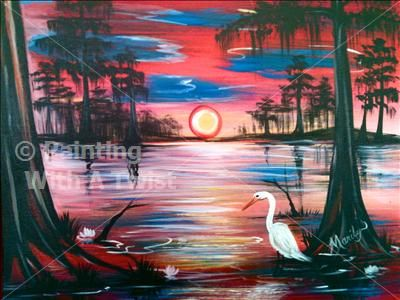 Vibrant Swamp Egret Lafayette Painting Class Painting With A