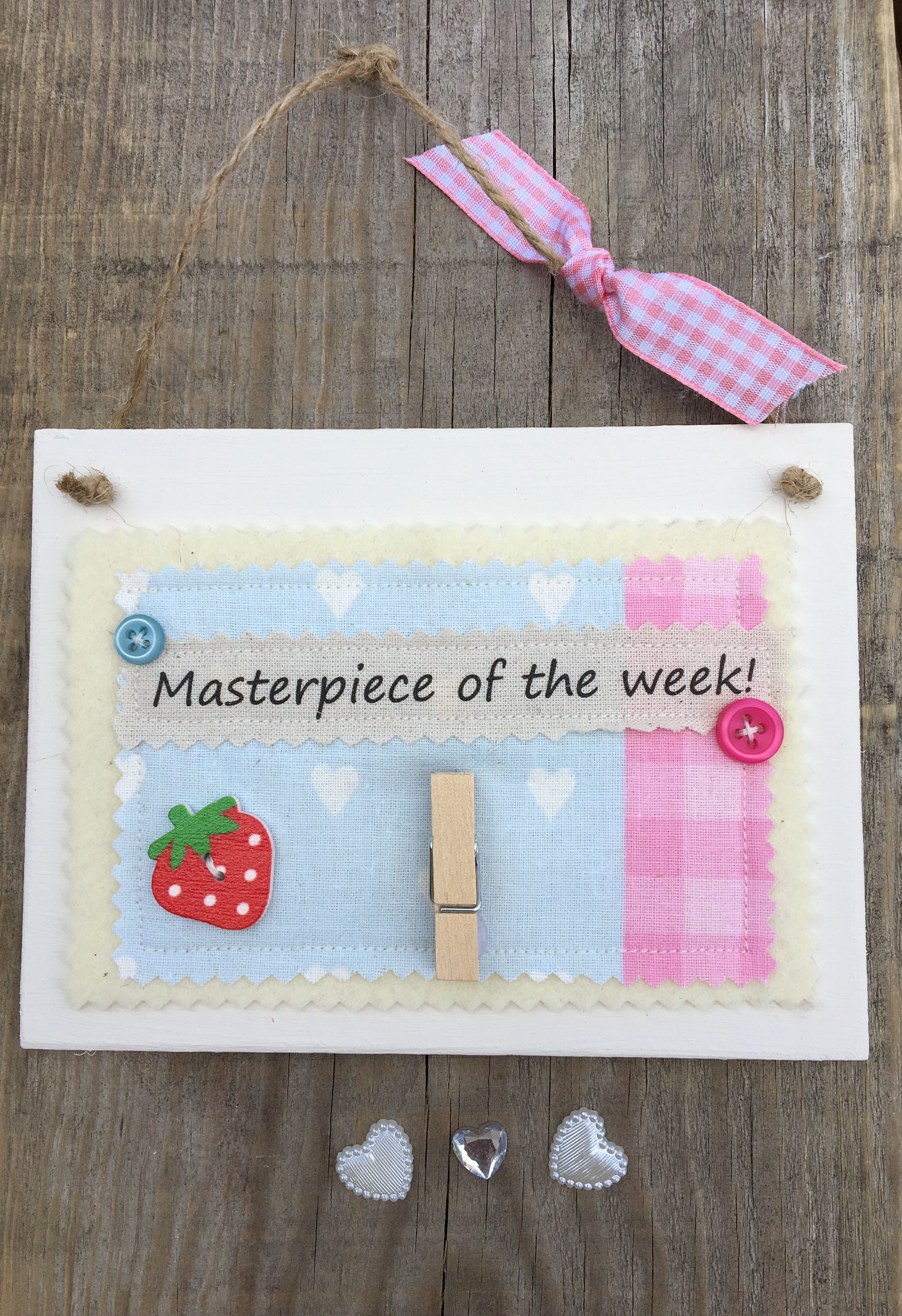 £7.00 ~ Wooden hanging plaque ~ hang your child's drawings ~ masterpiece ~ peg ~ memories ~ keepsake