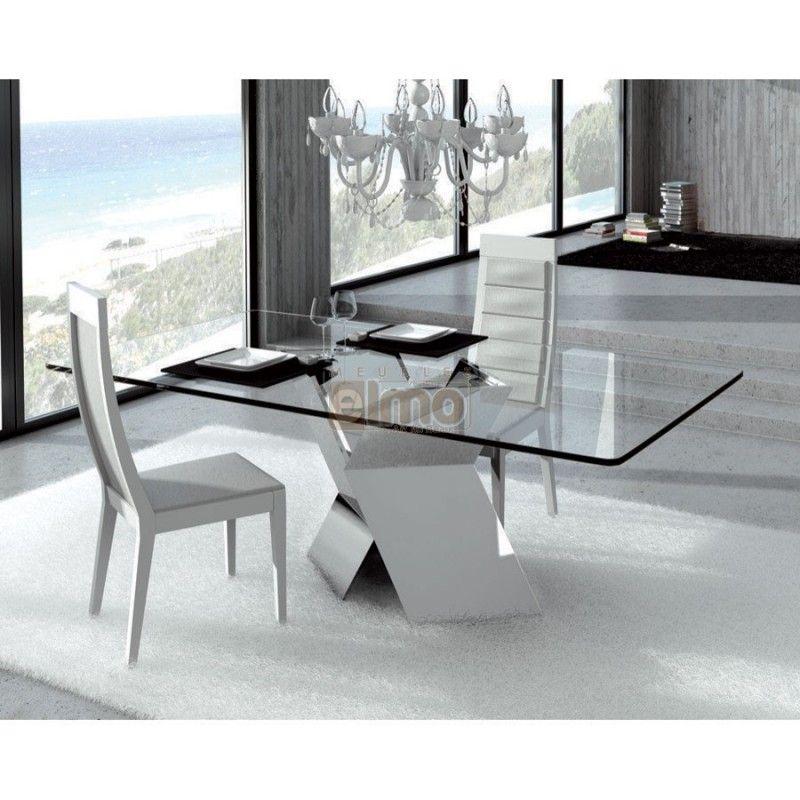 table de salle a manger moderne pied metal en x plateau verre 800 800 table. Black Bedroom Furniture Sets. Home Design Ideas