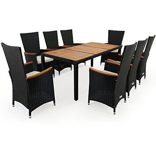 PolyRattan Sitzgruppe 8+1 Stapelbare Stühle mit Armlehnen aus - gartenmobel polyrattan eckbank