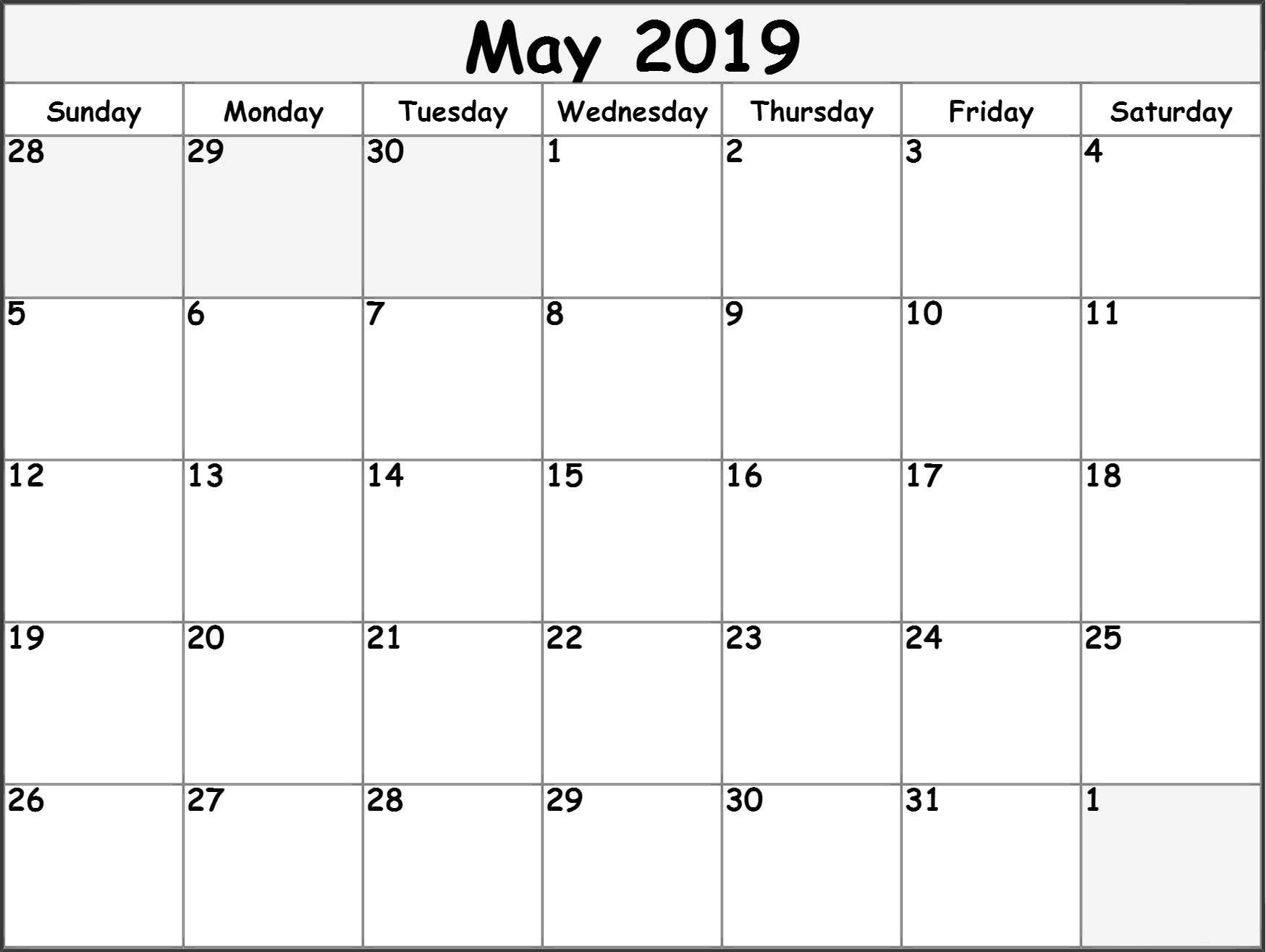 May 2019 Blank Template Calendar 2019 Printable Monthly