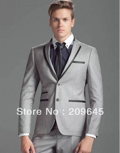 Wholesale Groom Men Gray Tuxedo Notch Lapel with Piping Wedding Suit Jacket  & Pants Free Shipping