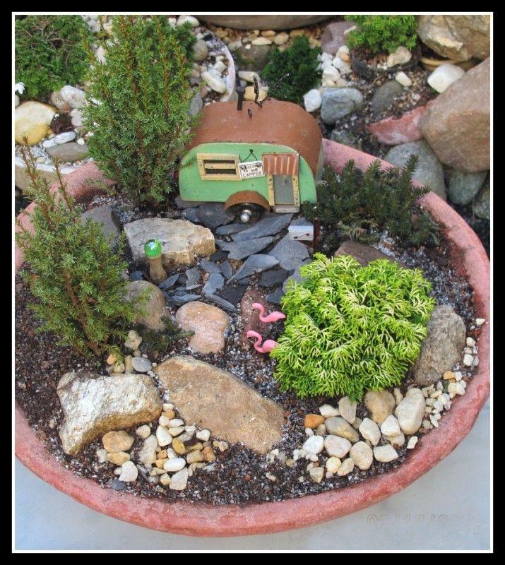 Mountaintop Trailer Mini Garden Scene - camper trailer, gazing ball, pink flamingoes!